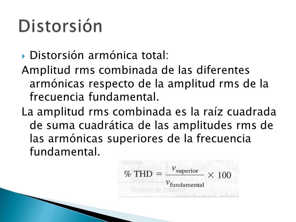 Distorsión armónica total: Amplitud rms combinada de las diferentes armónicas respecto de la amplitud rms de la frecuencia fundamental. La amplitud rm