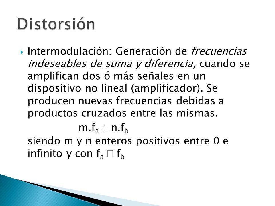 Intermodulación: Generación de frecuencias indeseables de suma y diferencia, cuando se amplifican dos ó más señales en un dispositivo no lineal (ampli