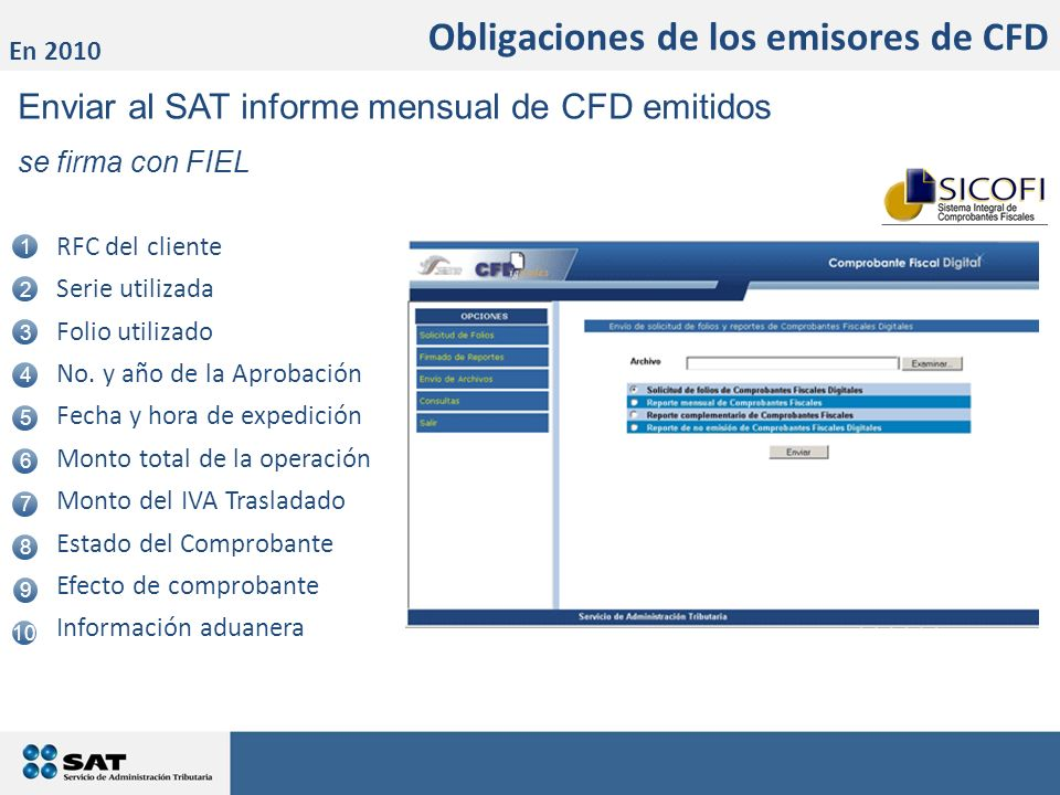 Enviar al SAT informe mensual de CFD emitidos se firma con FIEL 1 2 3 5 4 6 7 8 RFC del cliente Serie utilizada Folio utilizado No. y año de la Aproba