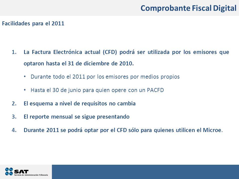 En qué consistirán los cambios 1.La Factura Electrónica actual (CFD) podrá ser utilizada por los emisores que optaron hasta el 31 de diciembre de 2010