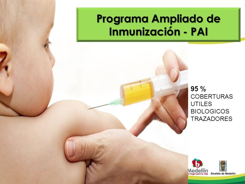 Programa Ampliado de Inmunización - PAI 95 % COBERTURAS UTILES BIOLOGICOS TRAZADORES
