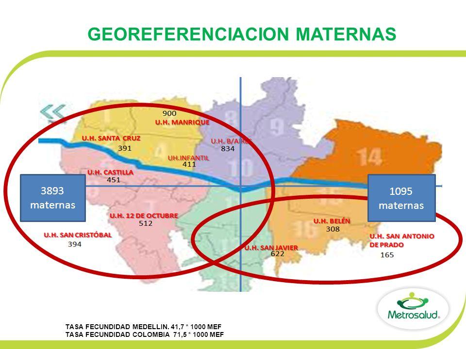 GEOREFERENCIACION MATERNAS TASA FECUNDIDAD MEDELLIN. 41,7 * 1000 MEF TASA FECUNDIDAD COLOMBIA 71,5 * 1000 MEF 3893 maternas 1095 maternas