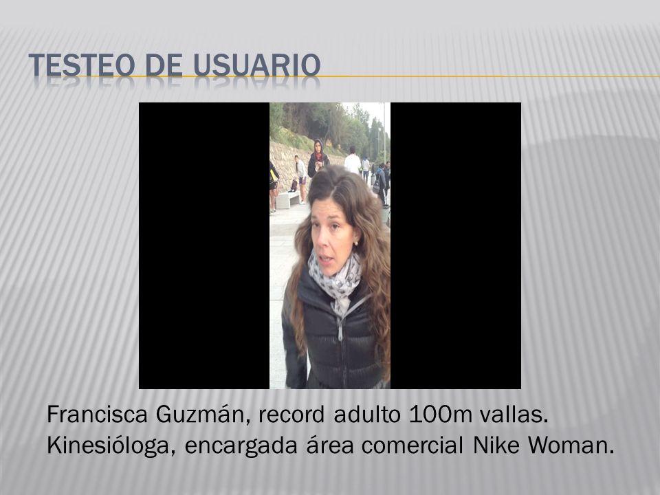 Francisca Guzmán, record adulto 100m vallas. Kinesióloga, encargada área comercial Nike Woman.