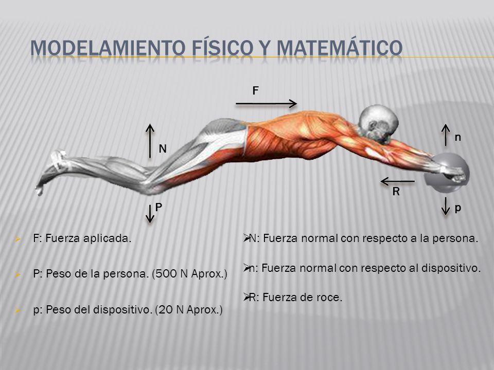 F: Fuerza aplicada. P: Peso de la persona. (500 N Aprox.) p: Peso del dispositivo. (20 N Aprox.) N P F n R p N: Fuerza normal con respecto a la person