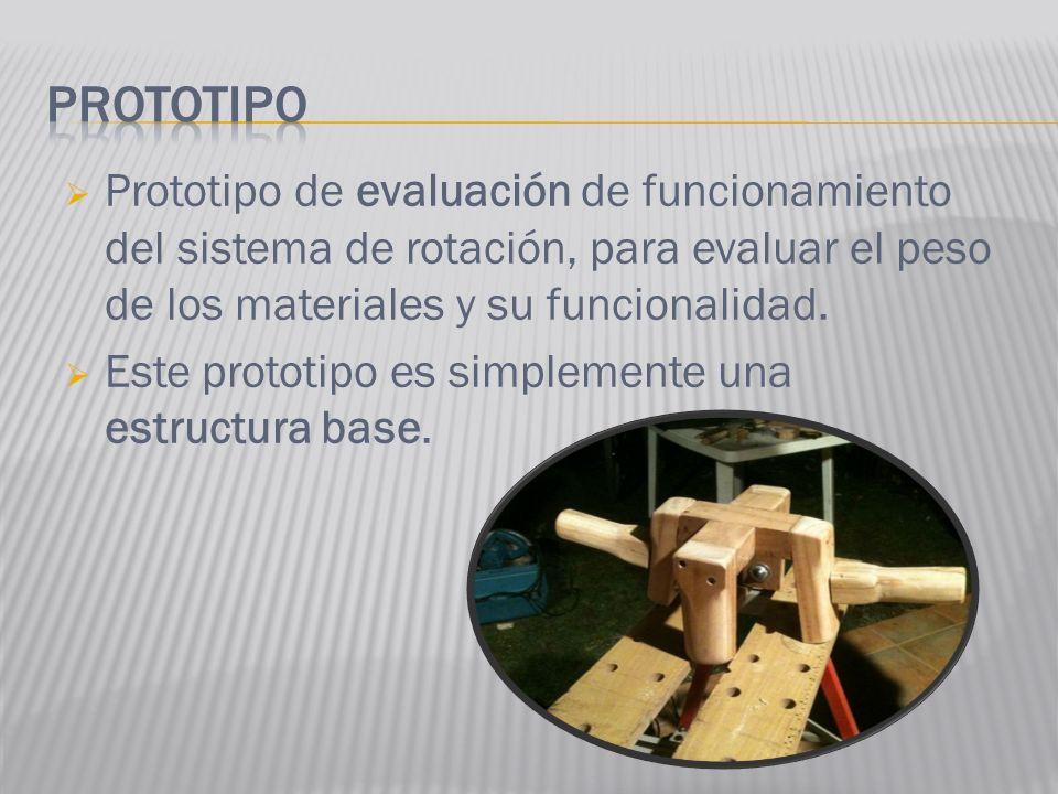 Prototipo de evaluación de funcionamiento del sistema de rotación, para evaluar el peso de los materiales y su funcionalidad. Este prototipo es simple