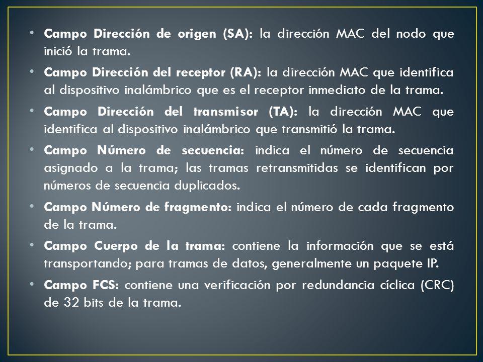 Campo Dirección de origen (SA): la dirección MAC del nodo que inició la trama. Campo Dirección del receptor (RA): la dirección MAC que identifica al d