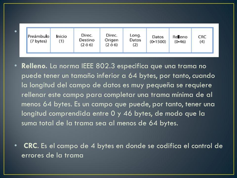 Relleno. La norma IEEE 802.3 especifica que una trama no puede tener un tamaño inferior a 64 bytes, por tanto, cuando la longitud del campo de datos e