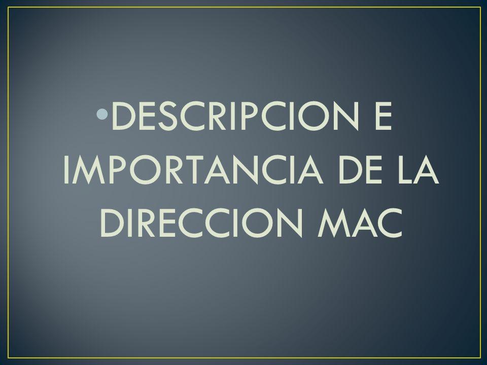 DESCRIPCION E IMPORTANCIA DE LA DIRECCION MAC