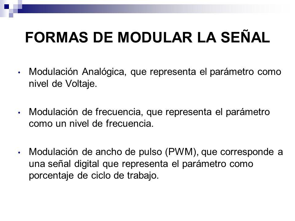 FORMAS DE MODULAR LA SEÑAL Modulación Analógica, que representa el parámetro como nivel de Voltaje. Modulación de frecuencia, que representa el paráme