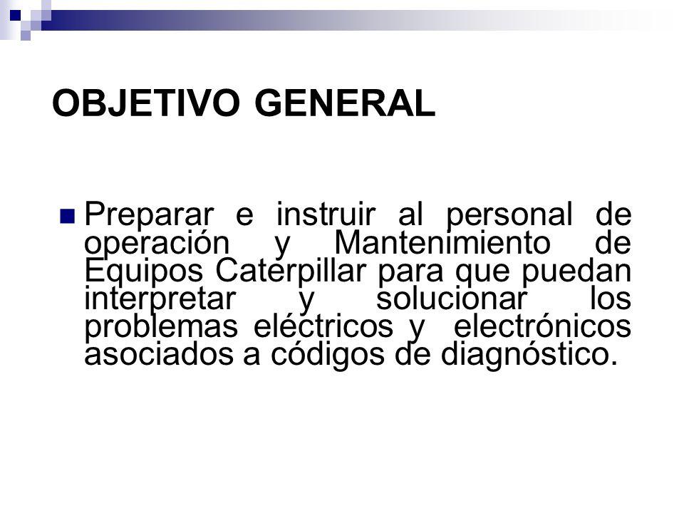 Preparar e instruir al personal de operación y Mantenimiento de Equipos Caterpillar para que puedan interpretar y solucionar los problemas eléctricos
