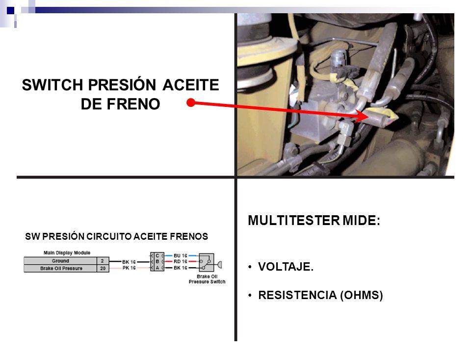 SWITCH PRESIÓN ACEITE DE FRENO MULTITESTER MIDE: VOLTAJE. RESISTENCIA (OHMS) SW PRESIÓN CIRCUITO ACEITE FRENOS