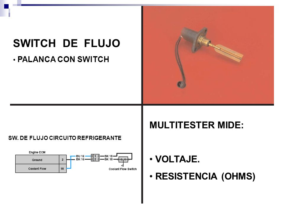 SWITCH DE FLUJO PALANCA CON SWITCH MULTITESTER MIDE: VOLTAJE.