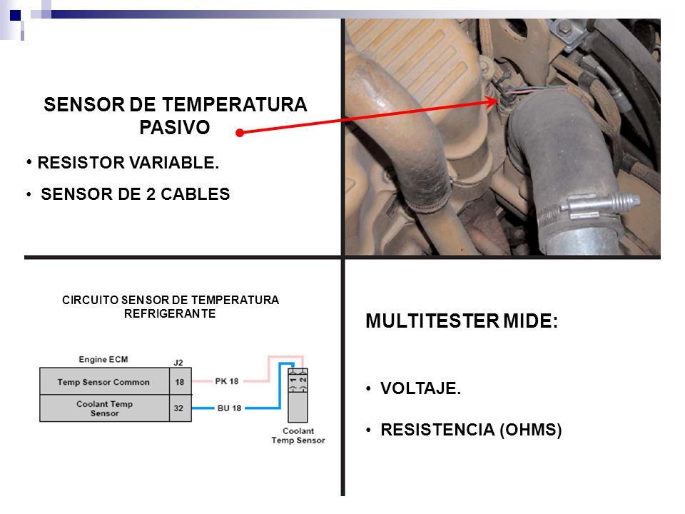SENSOR DE TEMPERATURA PASIVO RESISTOR VARIABLE.SENSOR DE 2 CABLES MULTITESTER MIDE: VOLTAJE.