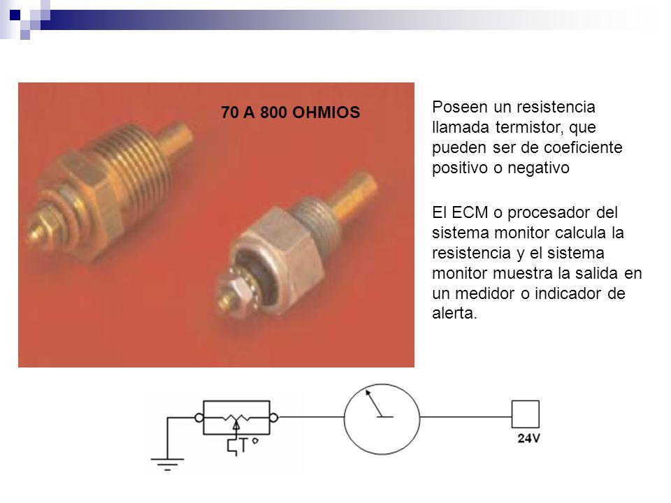 70 A 800 OHMIOS Poseen un resistencia llamada termistor, que pueden ser de coeficiente positivo o negativo El ECM o procesador del sistema monitor cal