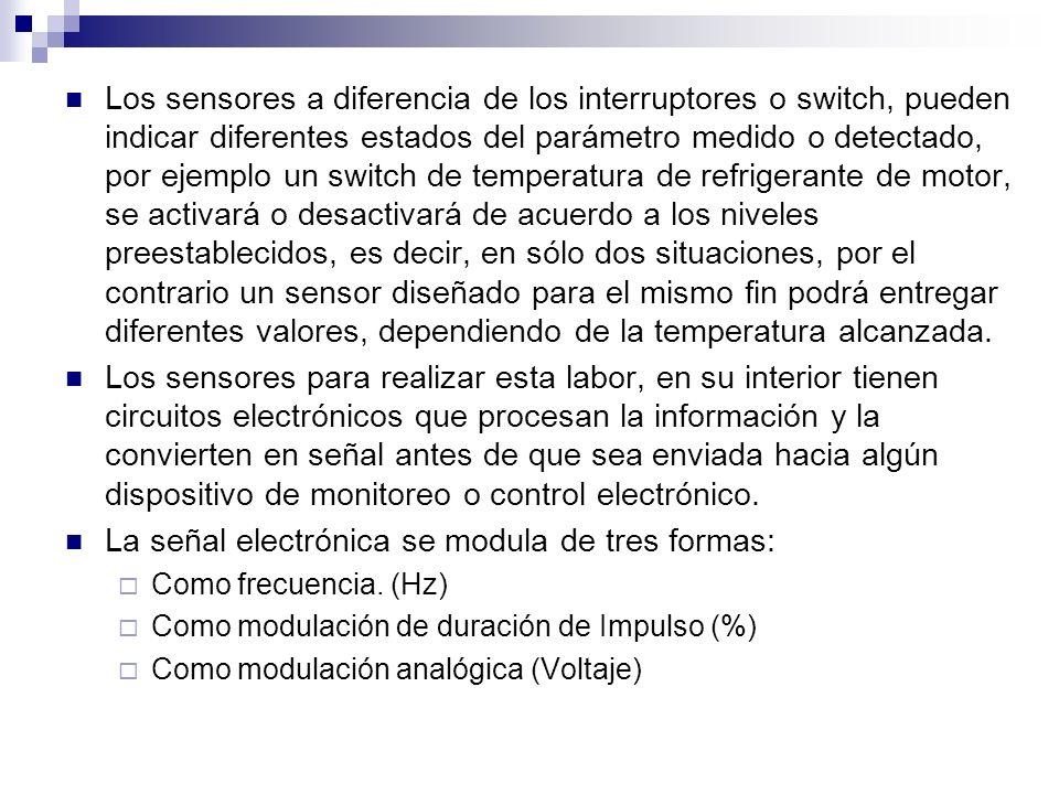 Los sensores a diferencia de los interruptores o switch, pueden indicar diferentes estados del parámetro medido o detectado, por ejemplo un switch de