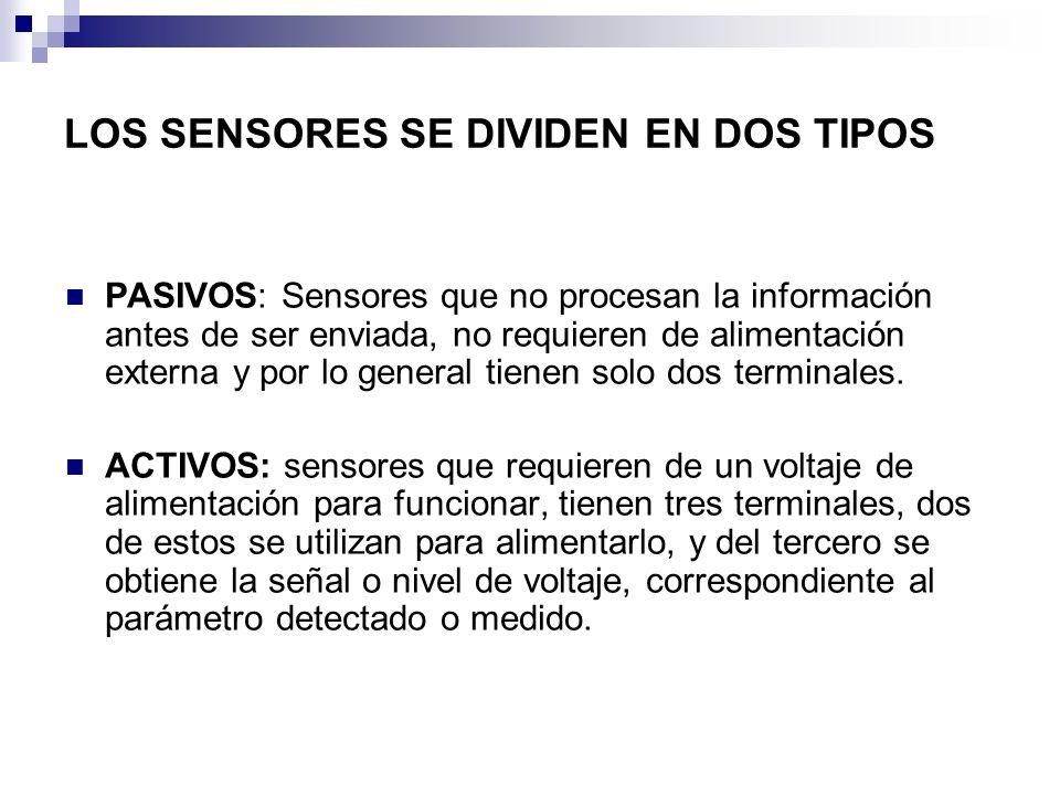 LOS SENSORES SE DIVIDEN EN DOS TIPOS PASIVOS: Sensores que no procesan la información antes de ser enviada, no requieren de alimentación externa y por