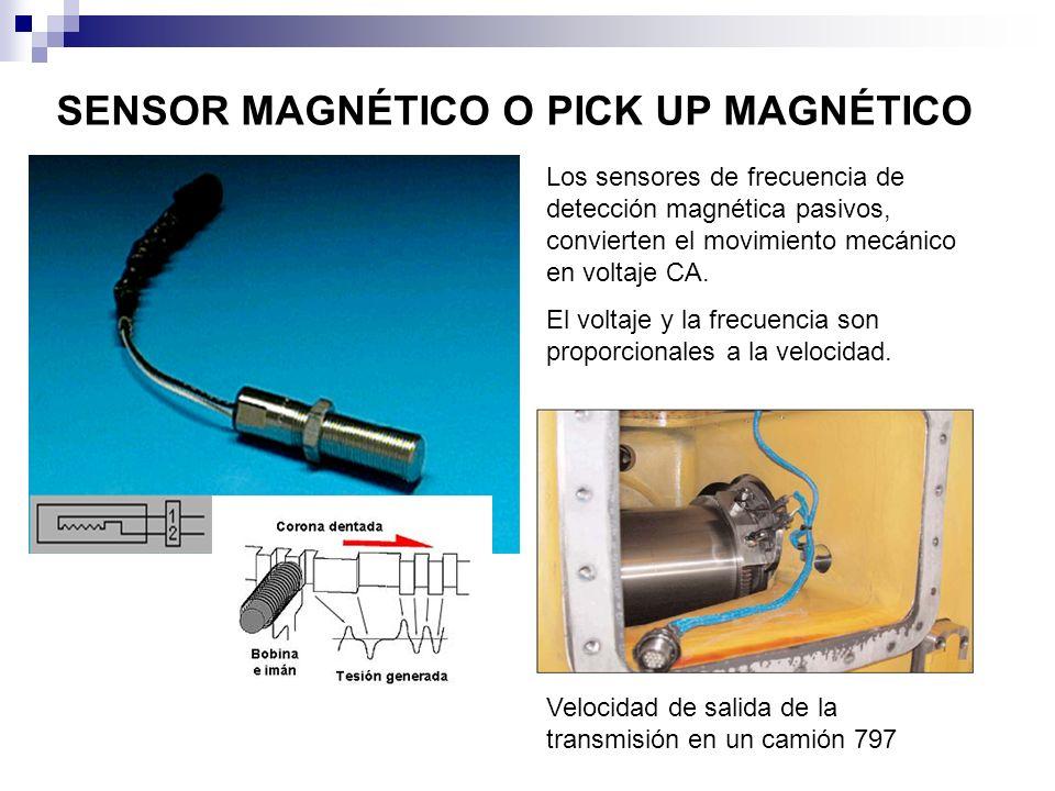 SENSOR MAGNÉTICO O PICK UP MAGNÉTICO Los sensores de frecuencia de detección magnética pasivos, convierten el movimiento mecánico en voltaje CA. El vo