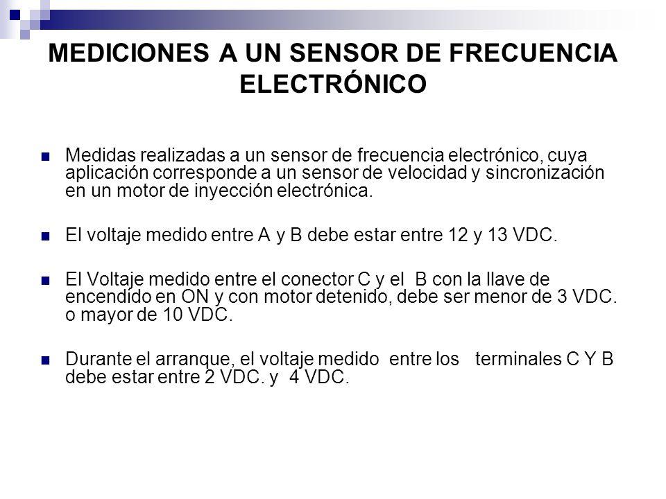 MEDICIONES A UN SENSOR DE FRECUENCIA ELECTRÓNICO Medidas realizadas a un sensor de frecuencia electrónico, cuya aplicación corresponde a un sensor de