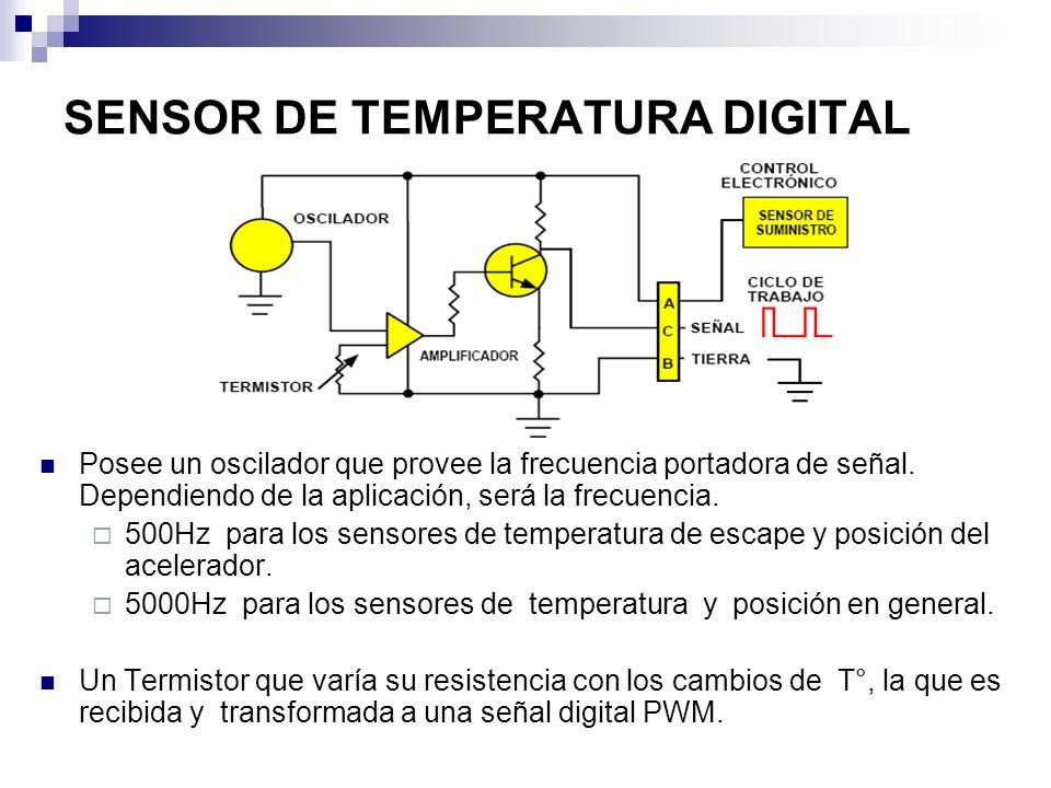 SENSOR DE TEMPERATURA DIGITAL Posee un oscilador que provee la frecuencia portadora de señal. Dependiendo de la aplicación, será la frecuencia. 500Hz