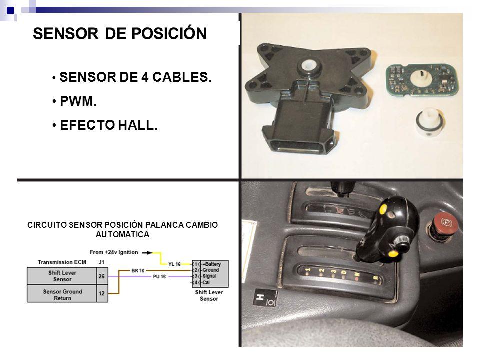SENSOR DE POSICIÓN SENSOR DE 4 CABLES. PWM. EFECTO HALL. CIRCUITO SENSOR POSICIÓN PALANCA CAMBIO AUTOMATICA