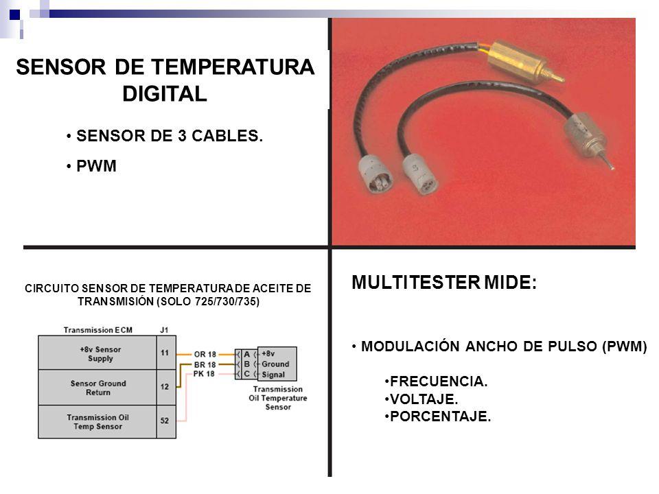 SENSOR DE TEMPERATURA DIGITAL SENSOR DE 3 CABLES. PWM MULTITESTER MIDE: MODULACIÓN ANCHO DE PULSO (PWM) FRECUENCIA. VOLTAJE. PORCENTAJE. CIRCUITO SENS
