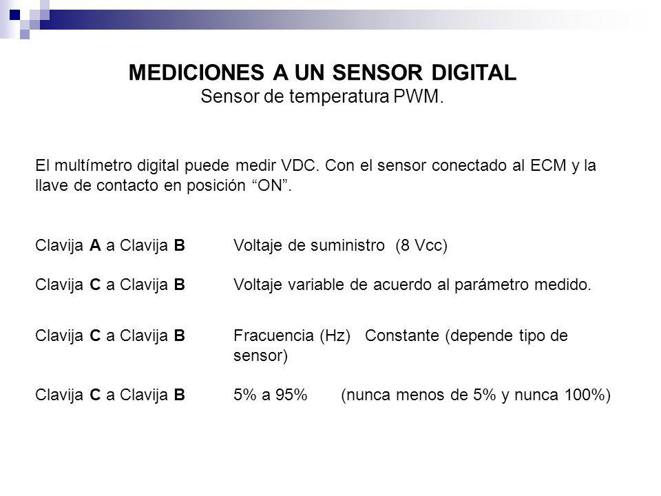 El multímetro digital puede medir VDC. Con el sensor conectado al ECM y la llave de contacto en posición ON. Clavija A a Clavija BVoltaje de suministr