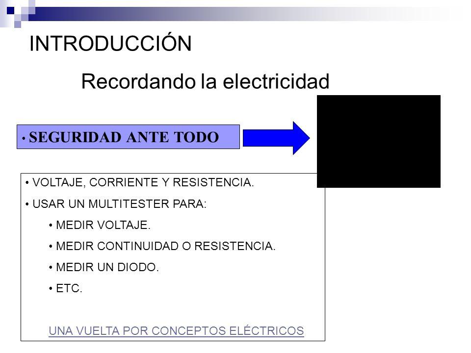 INTRODUCCIÓN Recordando la electricidad VOLTAJE, CORRIENTE Y RESISTENCIA. USAR UN MULTITESTER PARA: MEDIR VOLTAJE. MEDIR CONTINUIDAD O RESISTENCIA. ME