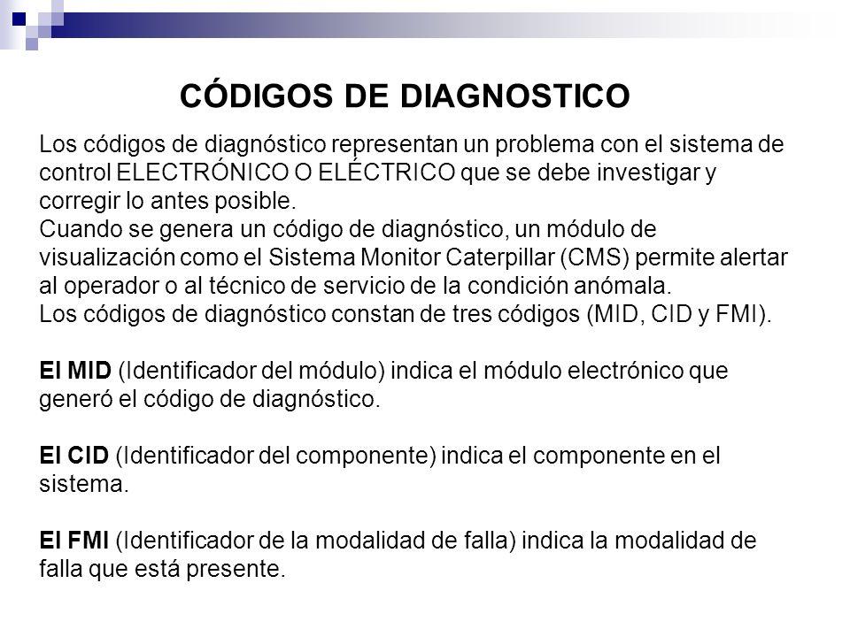 Los códigos de diagnóstico representan un problema con el sistema de control ELECTRÓNICO O ELÉCTRICO que se debe investigar y corregir lo antes posibl