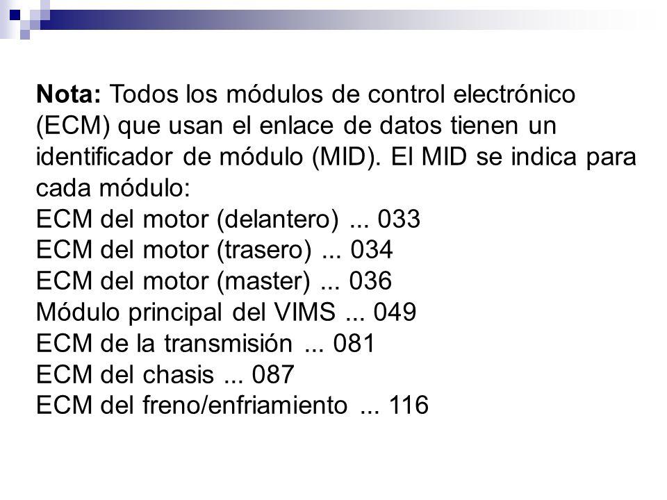 Nota: Todos los módulos de control electrónico (ECM) que usan el enlace de datos tienen un identificador de módulo (MID). El MID se indica para cada m