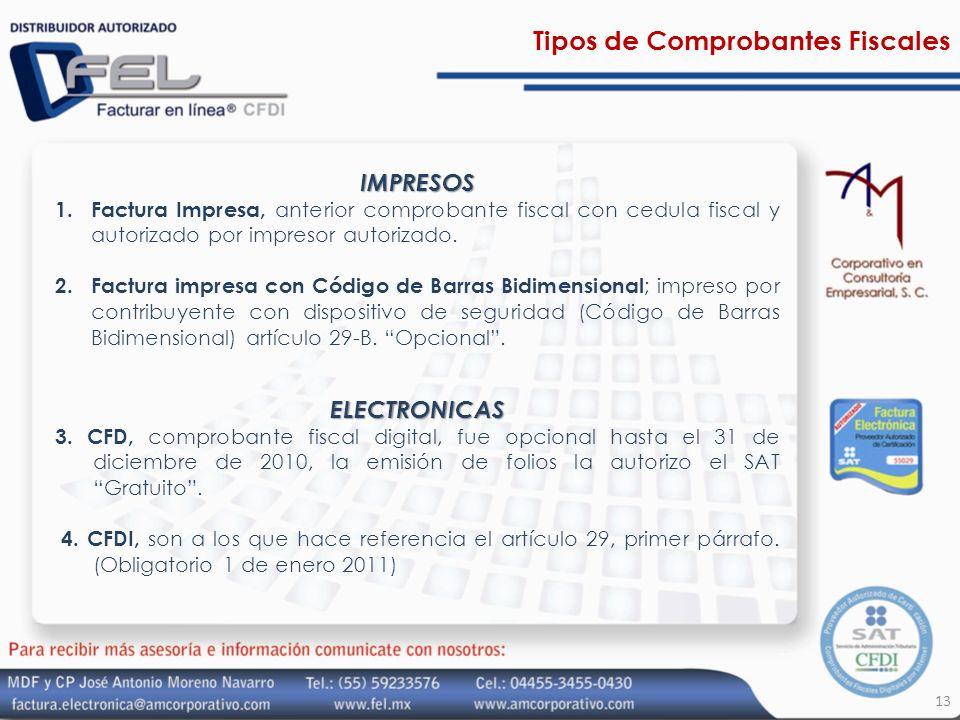 Tipos de Comprobantes FiscalesIMPRESOS 1.Factura Impresa, anterior comprobante fiscal con cedula fiscal y autorizado por impresor autorizado. 2.Factur