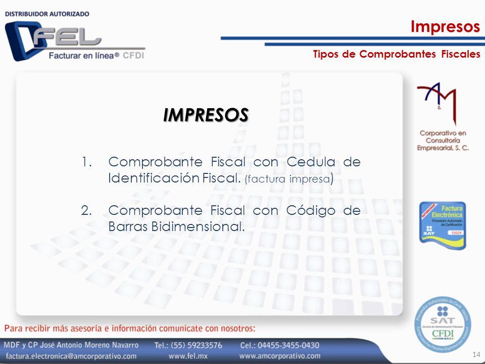 Tipos de Comprobantes Fiscales IMPRESOS 1.Comprobante Fiscal con Cedula de Identificación Fiscal. (factura impresa ) 2.Comprobante Fiscal con Código d