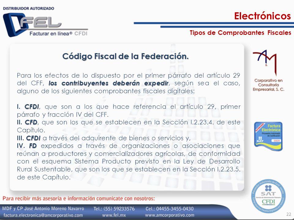 Código Fiscal de la Federación. los contribuyentes deberán expedir Para los efectos de lo dispuesto por el primer párrafo del artículo 29 del CFF, los
