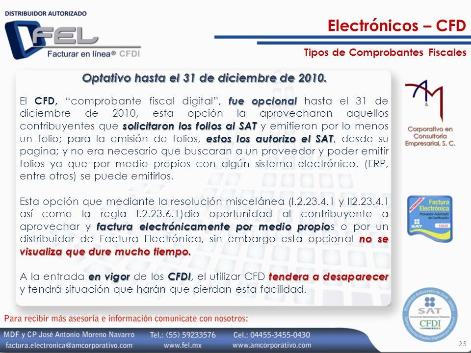 Optativo hasta el 31 de diciembre de 2010. fue opcional solicitaron los folios al SAT estos los autorizo el SAT El CFD, comprobante fiscal digital, fu