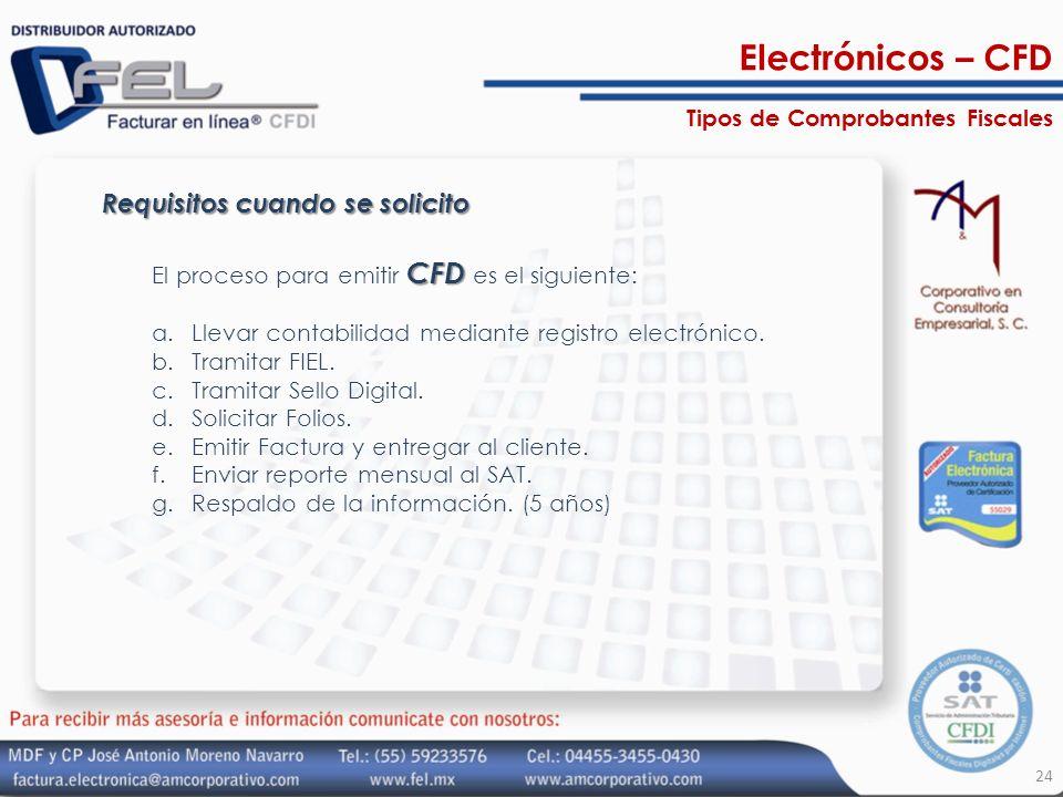Requisitos cuando se solicito CFD El proceso para emitir CFD es el siguiente: a.Llevar contabilidad mediante registro electrónico. b.Tramitar FIEL. c.