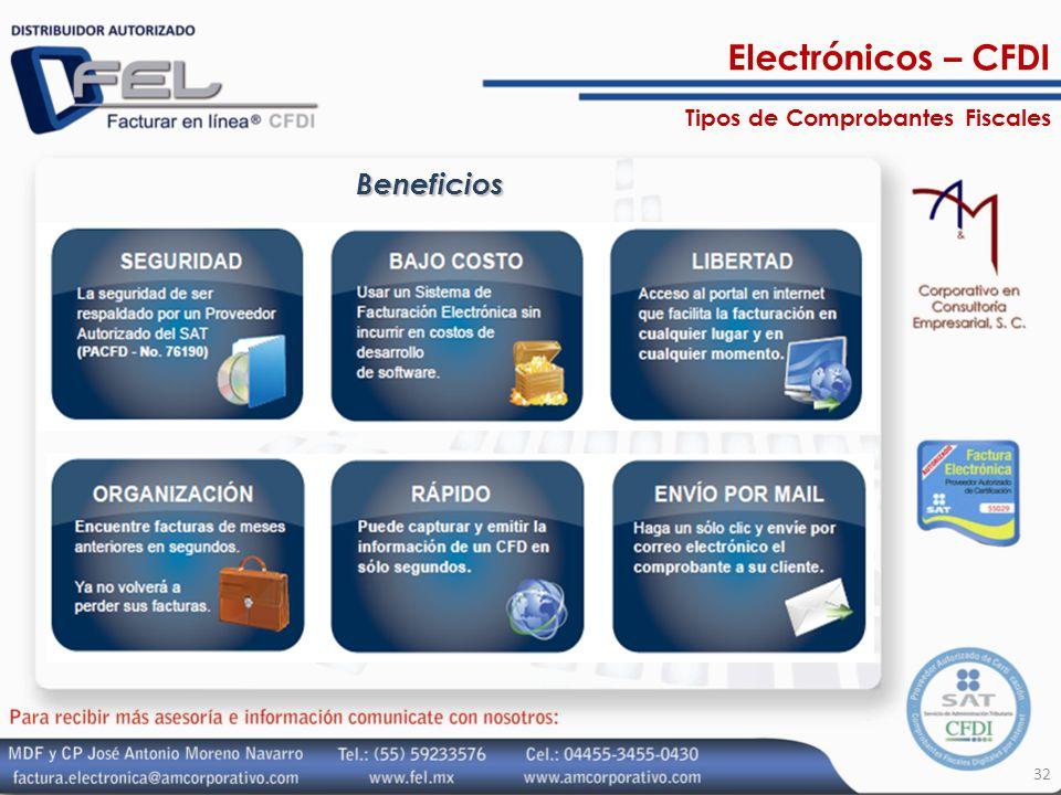 32 Beneficios Electrónicos – CFDI Tipos de Comprobantes Fiscales