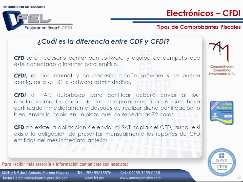 35 ¿Cuál es la diferencia entre CDF y CFDI? CFD CFD será necesario contar con software y equipo de computo que este conectado a internet para emitirlo