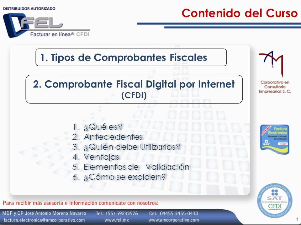Contenido del Curso 1. Tipos de Comprobantes Fiscales 2. Comprobante Fiscal Digital por Internet (CFDI) 1.¿Qué es? 2.Antecedentes 3.¿Quién debe Utiliz
