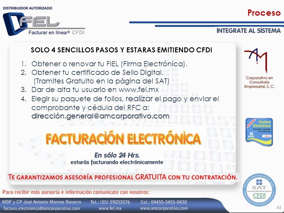 43 1.Obtener o renovar tu FIEL (Firma Electrónica). 2.Obtener tu certificado de Sello Digital. (Tramites Gratuito en la página del SAT) 3.Dar de alta