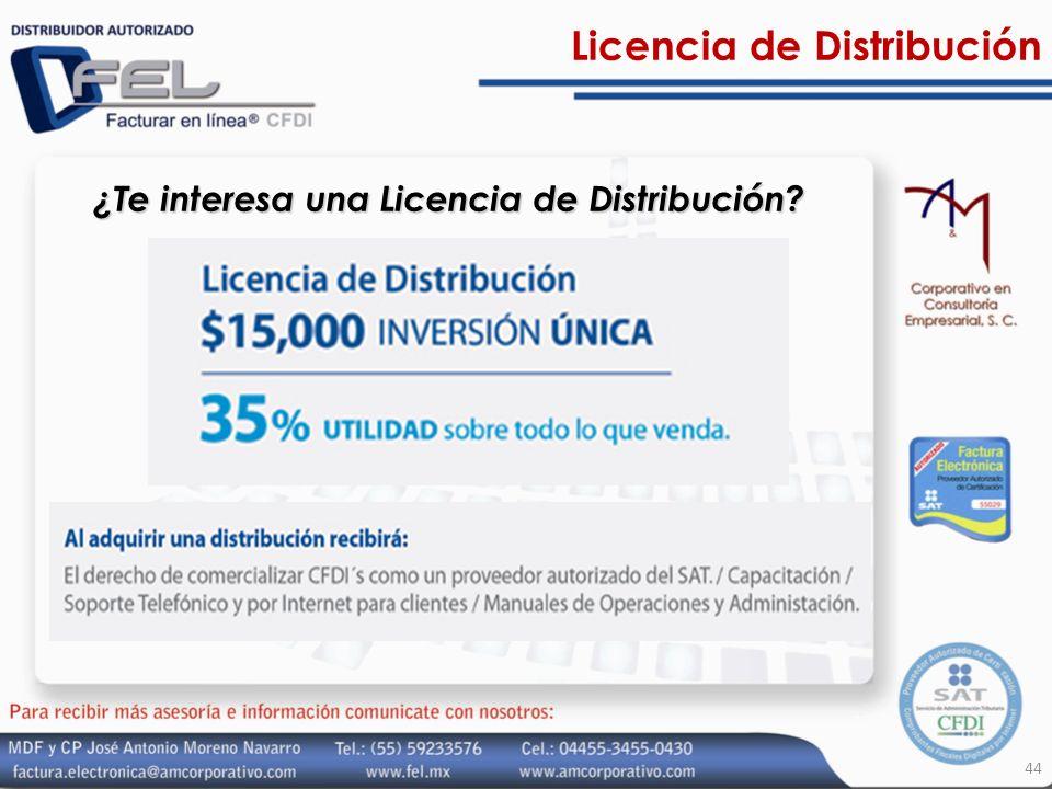 Licencia de Distribución 44 ¿Te interesa una Licencia de Distribución?