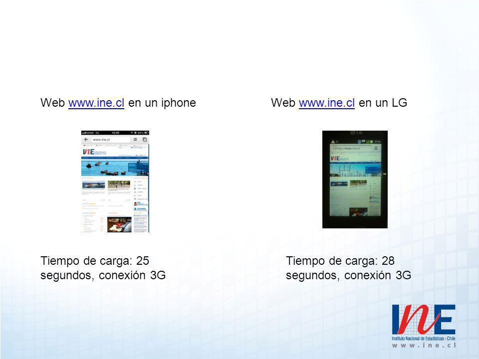 Web www.ine.cl en un iphonewww.ine.clWeb www.ine.cl en un LGwww.ine.cl Tiempo de carga: 25 segundos, conexión 3G Tiempo de carga: 28 segundos, conexión 3G