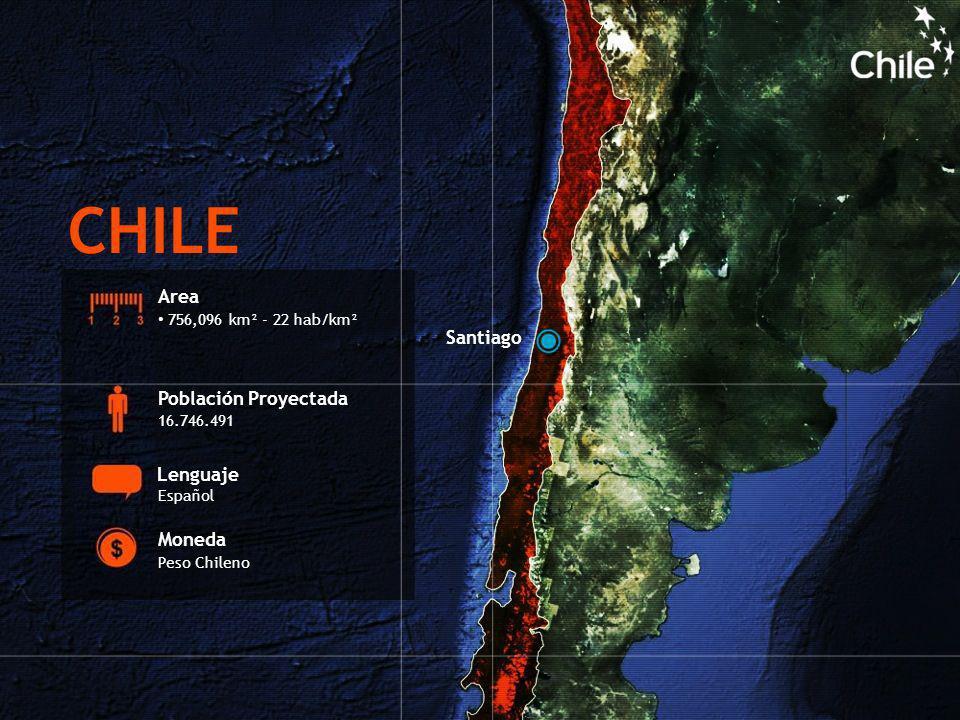 Area 756,096 km² - 22 hab/km² Población Proyectada 16.746.491 Lenguaje Español Moneda Peso Chileno Santiago CHILE
