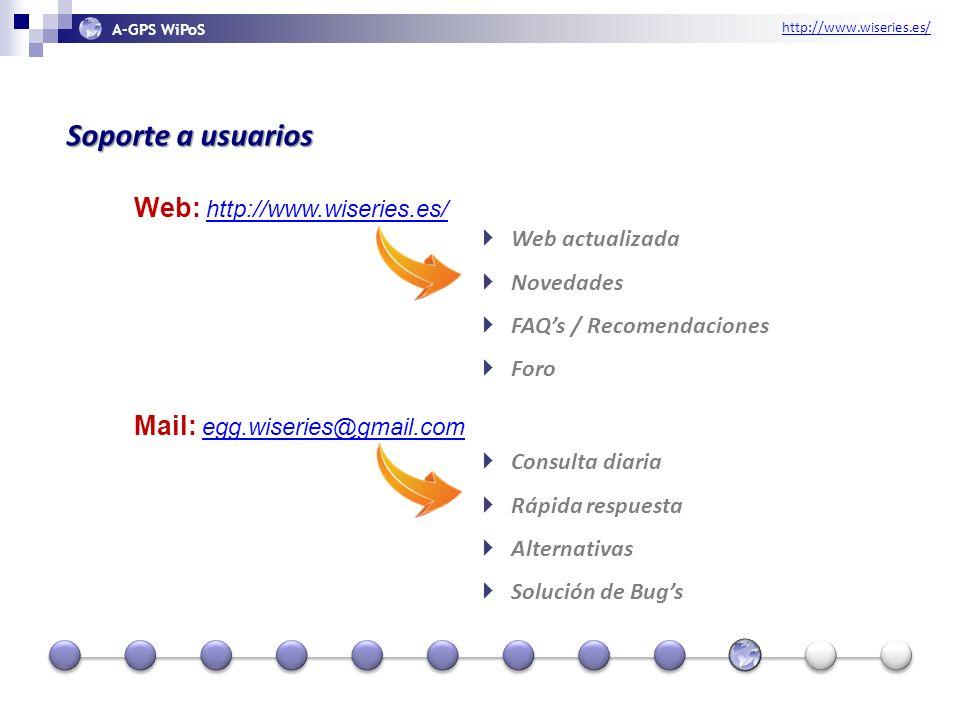 http://www.wiseries.es/ A-GPS WiPoS Soporte a usuarios Web: http://www.wiseries.es/ http://www.wiseries.es/ Mail: egg.wiseries@gmail.com egg.wiseries@gmail.com Web actualizada Novedades FAQs / Recomendaciones Foro Consulta diaria Rápida respuesta Alternativas Solución de Bugs