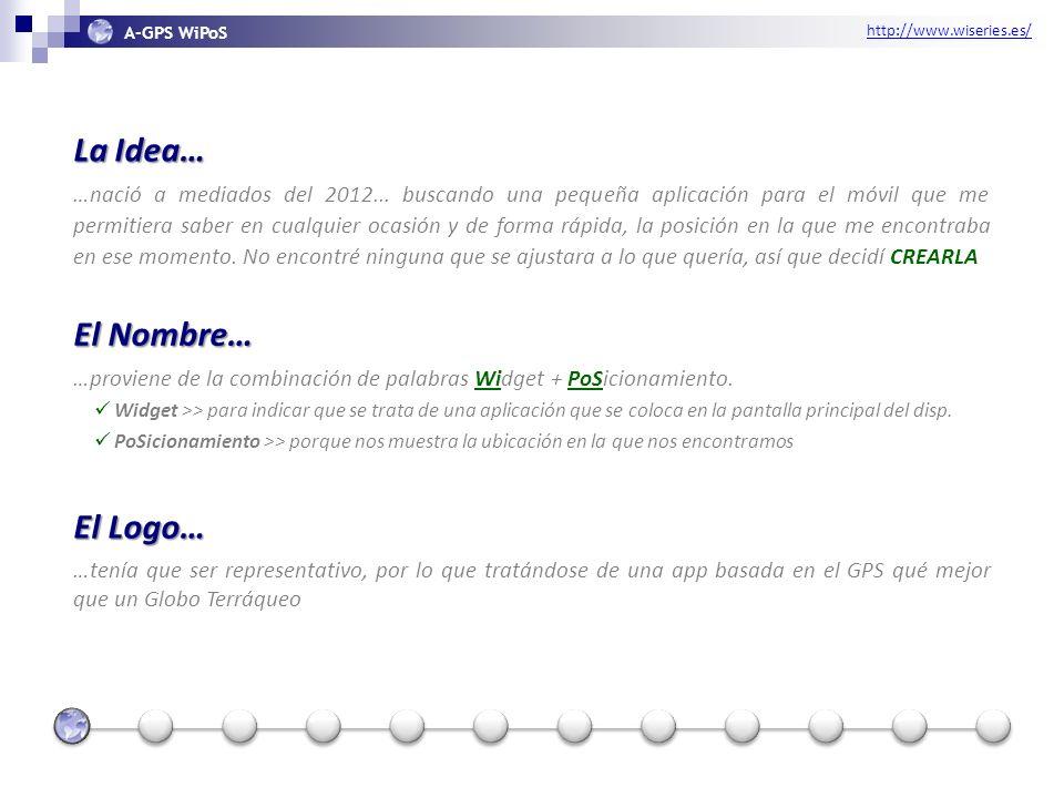 http://www.wiseries.es/ A-GPS WiPoS La Idea… …nació a mediados del 2012...