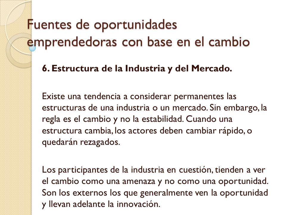Fuentes de oportunidades emprendedoras con base en el cambio 6.