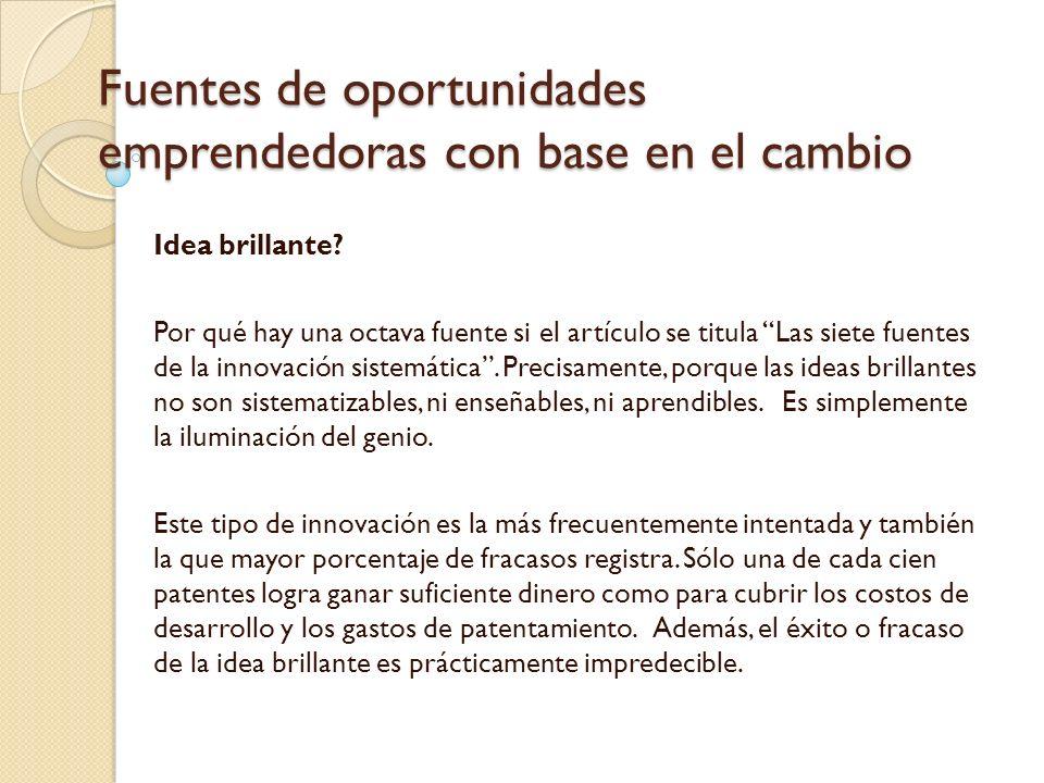 Fuentes de oportunidades emprendedoras con base en el cambio Idea brillante.