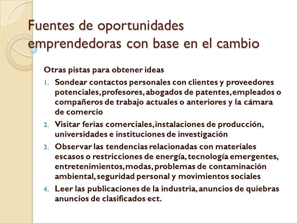 Fuentes de oportunidades emprendedoras con base en el cambio Otras pistas para obtener ideas 1.