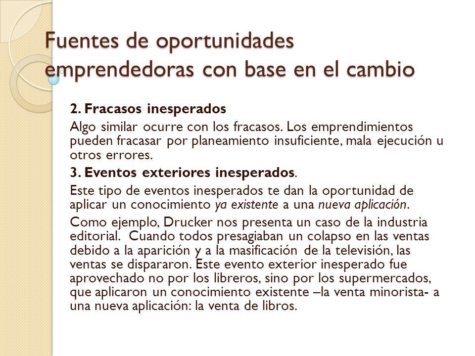Fuentes de oportunidades emprendedoras con base en el cambio 4.