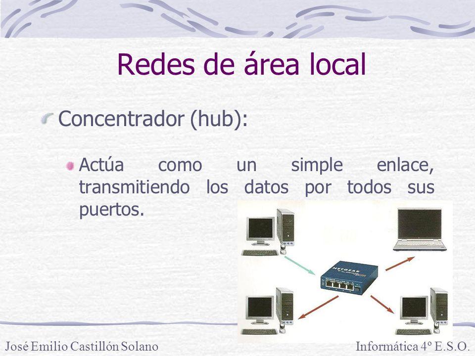 Redes de área local Concentrador (hub): Actúa como un simple enlace, transmitiendo los datos por todos sus puertos.