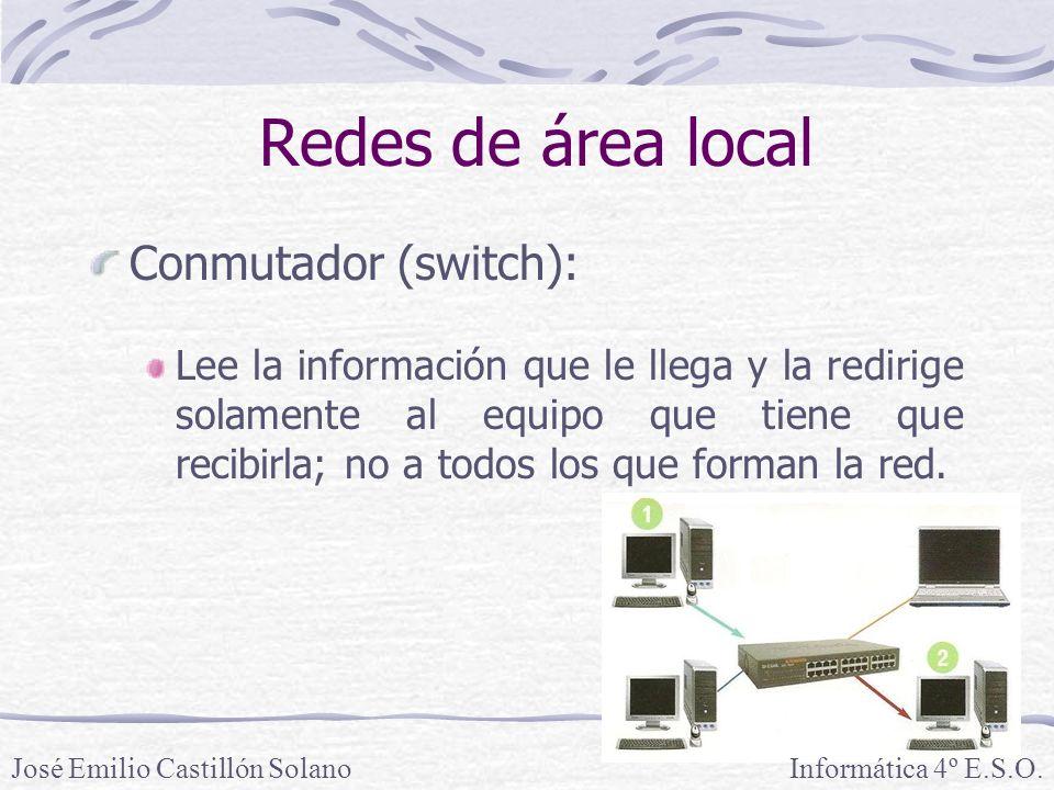 Redes de área local Conmutador (switch): Lee la información que le llega y la redirige solamente al equipo que tiene que recibirla; no a todos los que forman la red.