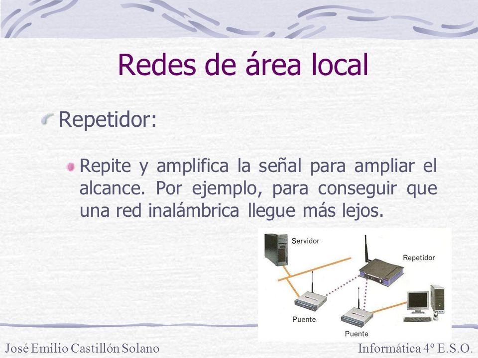 Redes de área local Repetidor: Repite y amplifica la señal para ampliar el alcance.